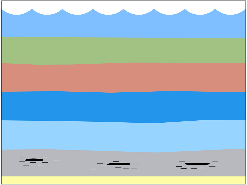 <span class='figure-reader-id'>Stage 6</span> The pieces of sediment were <u>pressed together</u> and formed <u>sedimentary</u> (sed-ah-MEN-ter-ee) <u>rocks.</u>