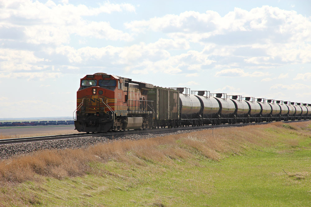 Train tanker cars carry petroleum and natural gas liquids (NGL) to refineries or processing plants