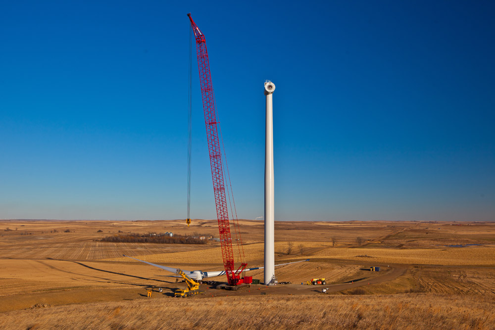 A wind turbine under construction