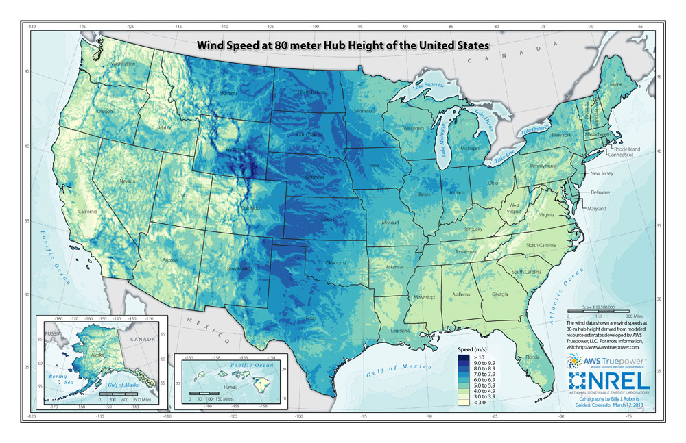 Image 3: The wind <u>resources</u> in North Dakota rank <u>sixth</u> among all of the states in the United States. This map was created by the National Renewable Energy Laboratory for the U.S. Department of Energy using AWS Truepower data.