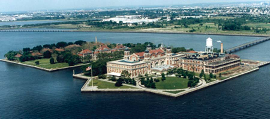 <strong>Figure 67. View of Ellis Island</strong> and immigration station today. <em>(National Park Service)</em>