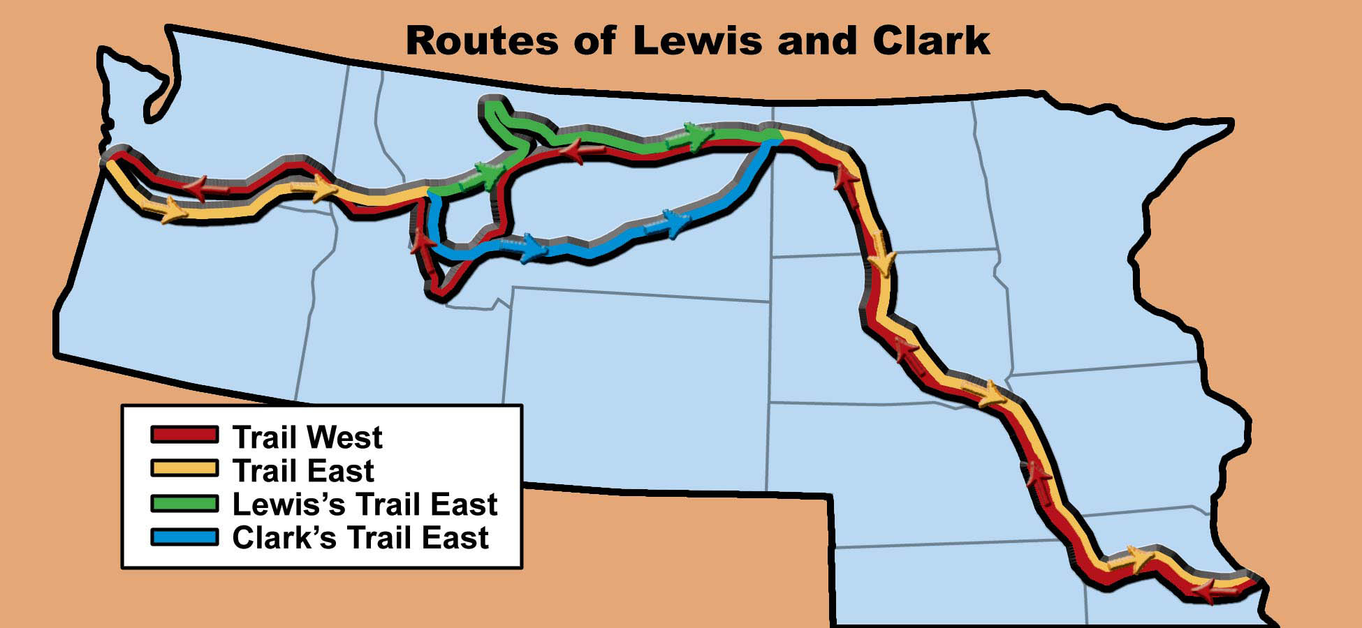 The routes taken by the Lewis and Clark Expedition