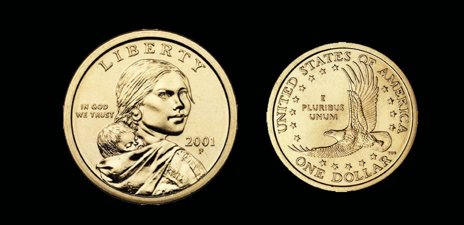 The Sakakawea golden dollar