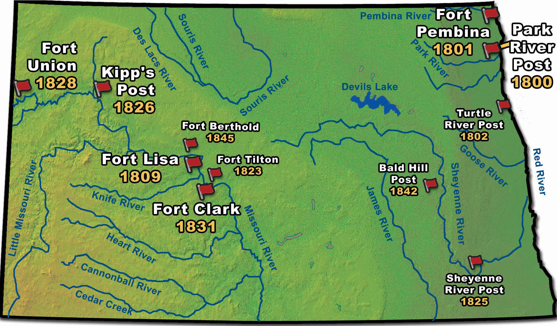 Map of the Fur Trading Posts