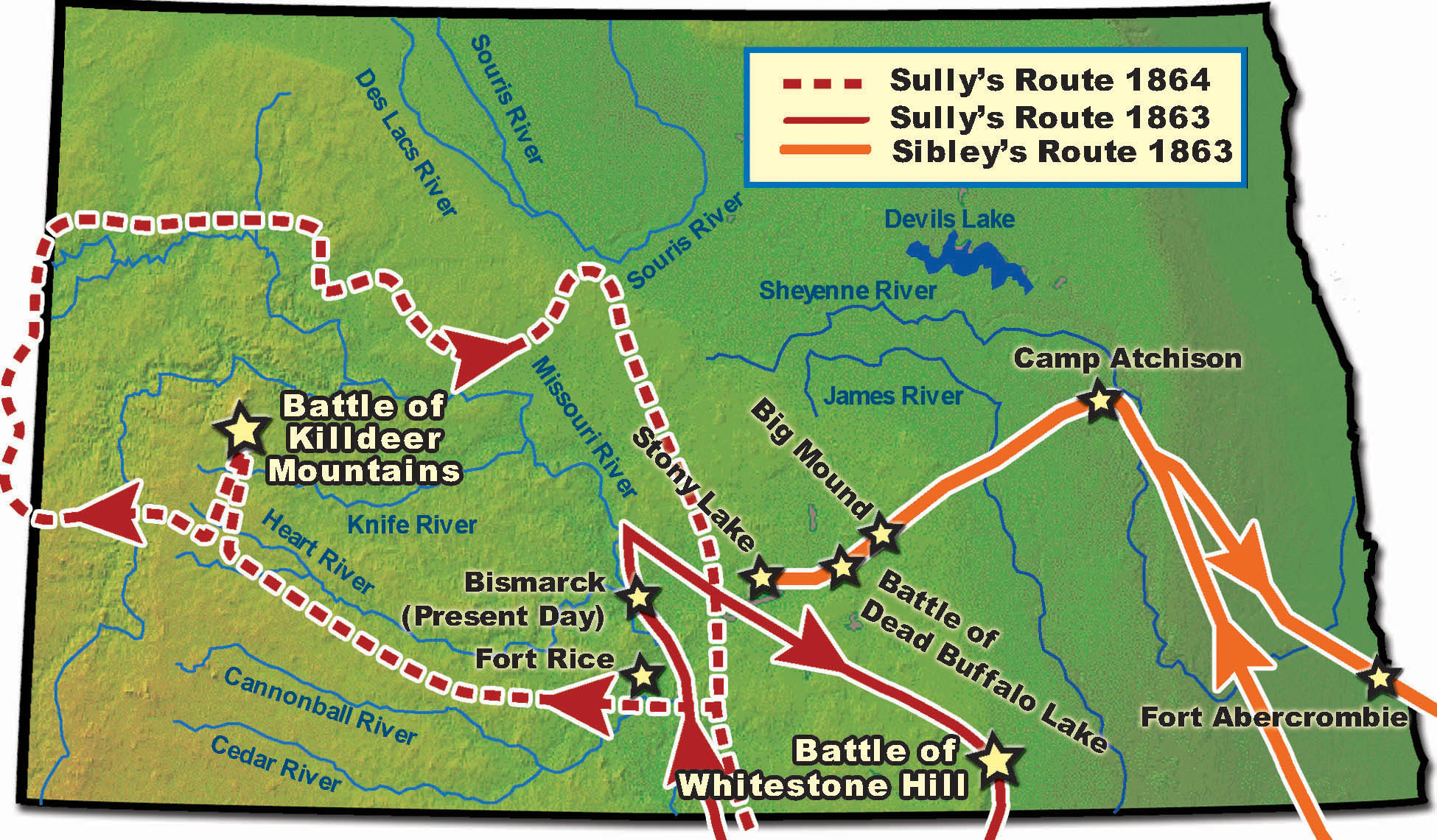 The routes of Sibley and Sully