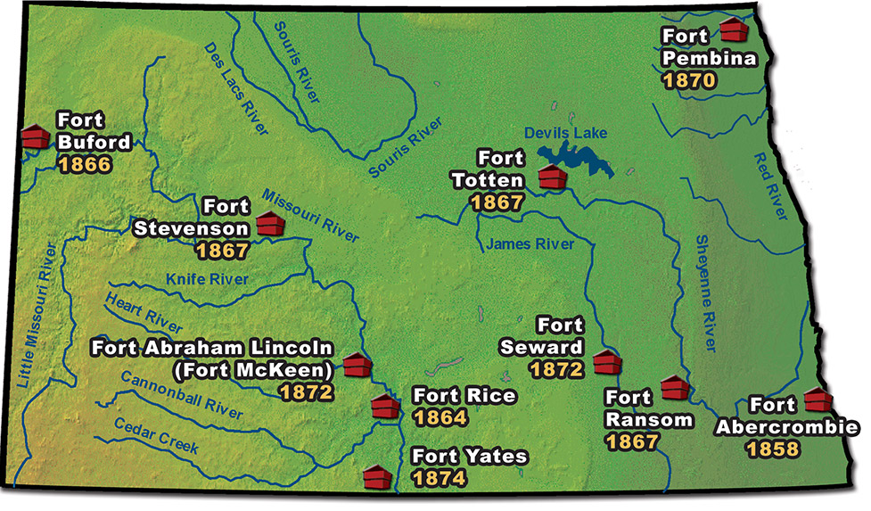 Map of North Dakota military forts
