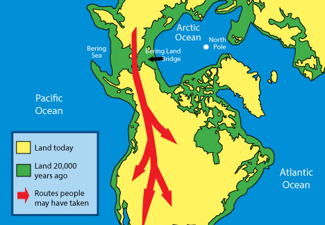 Map showing Bering Strait land bridge.