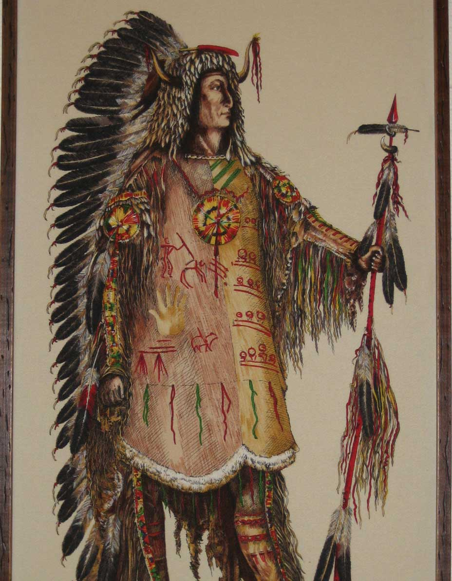 Mandan Chief Four Bears with coup stick.