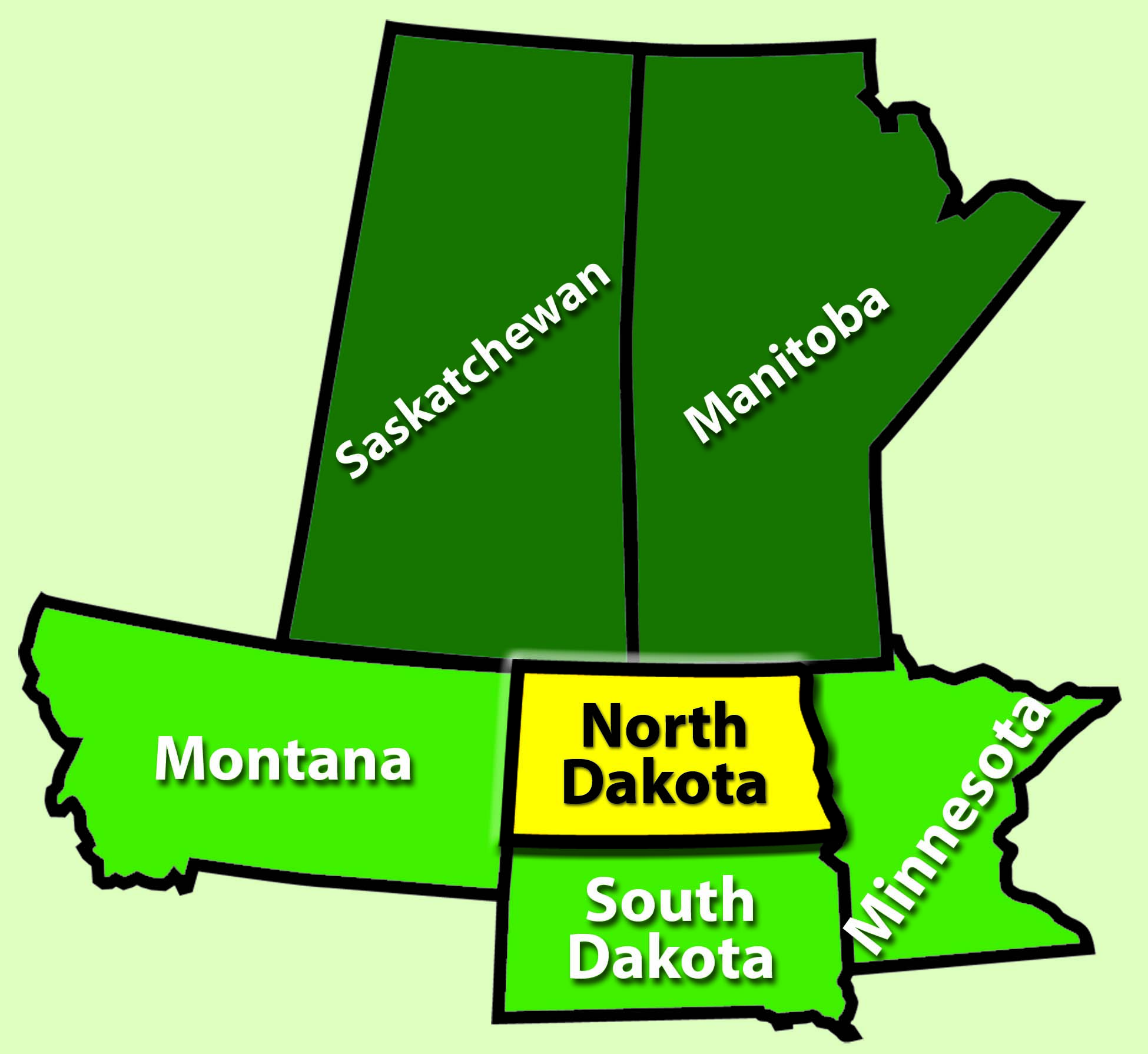 States bordering North Dakota