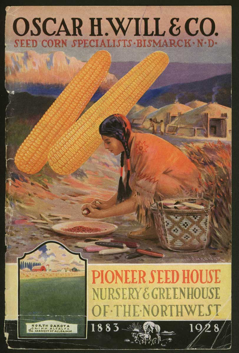 "<strong>Oscar Will Seed Catalogs. Figure 107. </strong> The front cover for the Oscar H. Will & Company seed catalog for 1912 features giant snapdragons and Will's early June sweet corn, advertised as the ""earliest on Earth."" (Slide 2 of 2) - <strong>Figure 108. The front cover </strong>of the 1928 seed catalog. <em> (SHSND 10190) </em>"