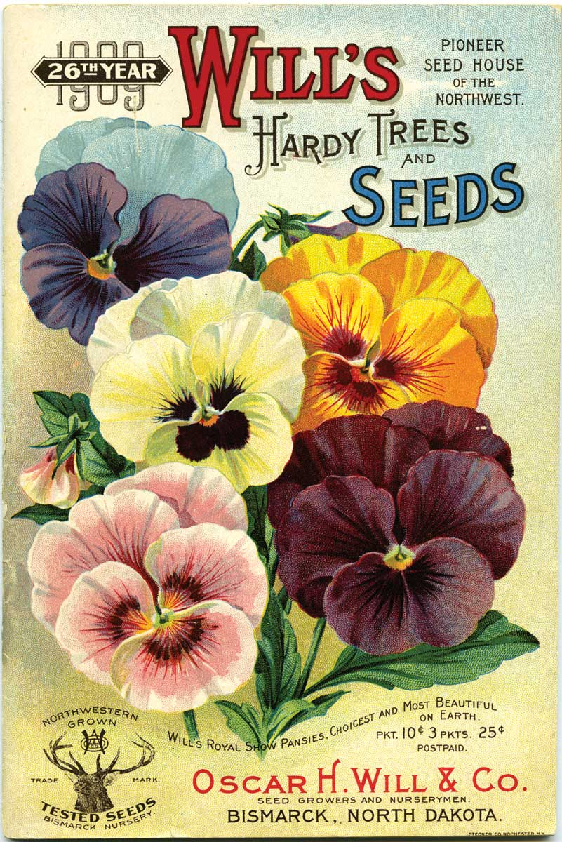 "<strong>Oscar Will Seed Catalog Covers. Figure 105. </strong>The front cover of the 25th anniversary Oscar H. Will & Company seed catalog for 1908 features drawings of Will's sugar watermelon, hard head lettuce, early June cabbage, carmine radish, and early June sweet corn called ""Dakota globe."" (Slide 2 of 2) - <strong>Figure 106. The 1909 catalog</strong> features Will's royal show pansies. <em> (SHSND 10190) </em>"