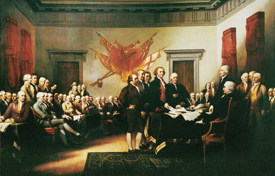 The Founding Fathers present the Declaration of Independence to Congress