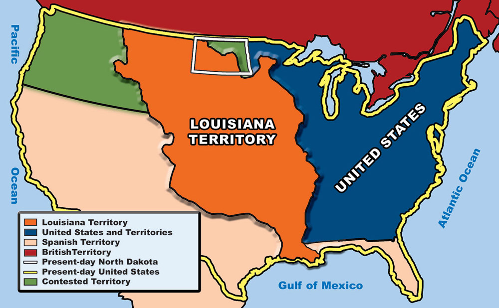 Map Of Louisiana Territory.Section 1 The Louisiana Purchase North Dakota Studies