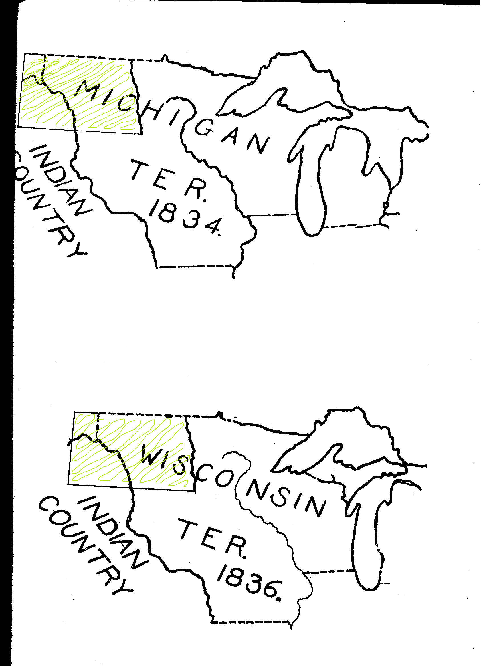 These two maps show how quickly territories took shape. As Michigan prepared to become a state (1837), the territory's western portion was re-assigned to Wisconsin.