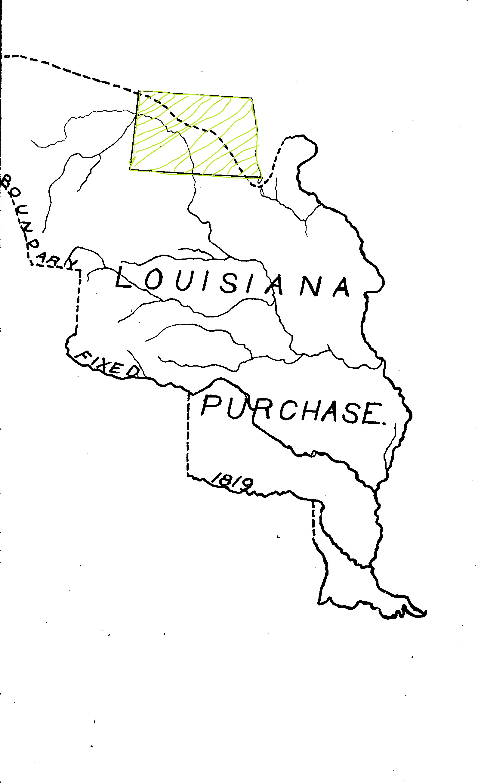 The Louisiana Purchase (1803) was defined as the drainage of the Missouri River and its tributaries. The eastern portion of North Dakota drains into the Red River.