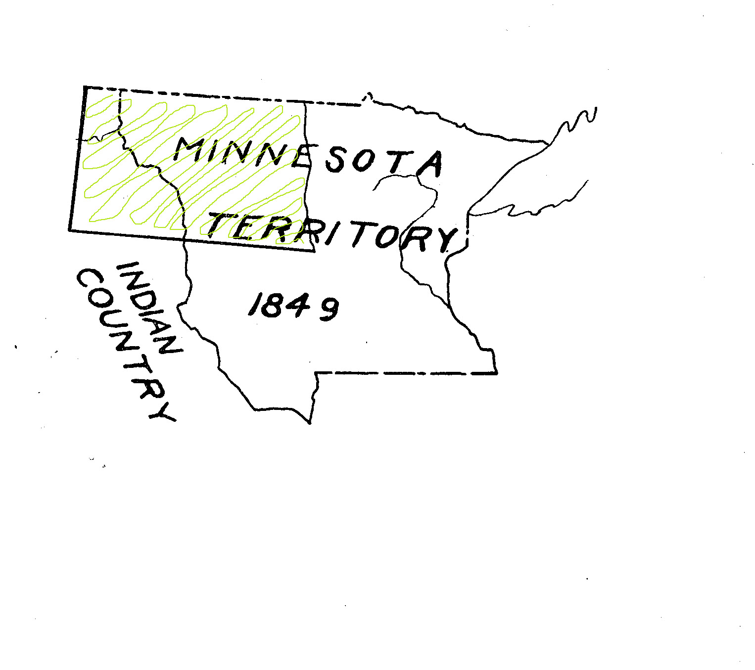 In 1849, Minnesota Territory took on the eastern portion of North and South Dakota. Though this territory was smaller than some of the earlier sprawling territories, Minnesota gave little attention to any part west of the Red River except for the small border community of Pembina.