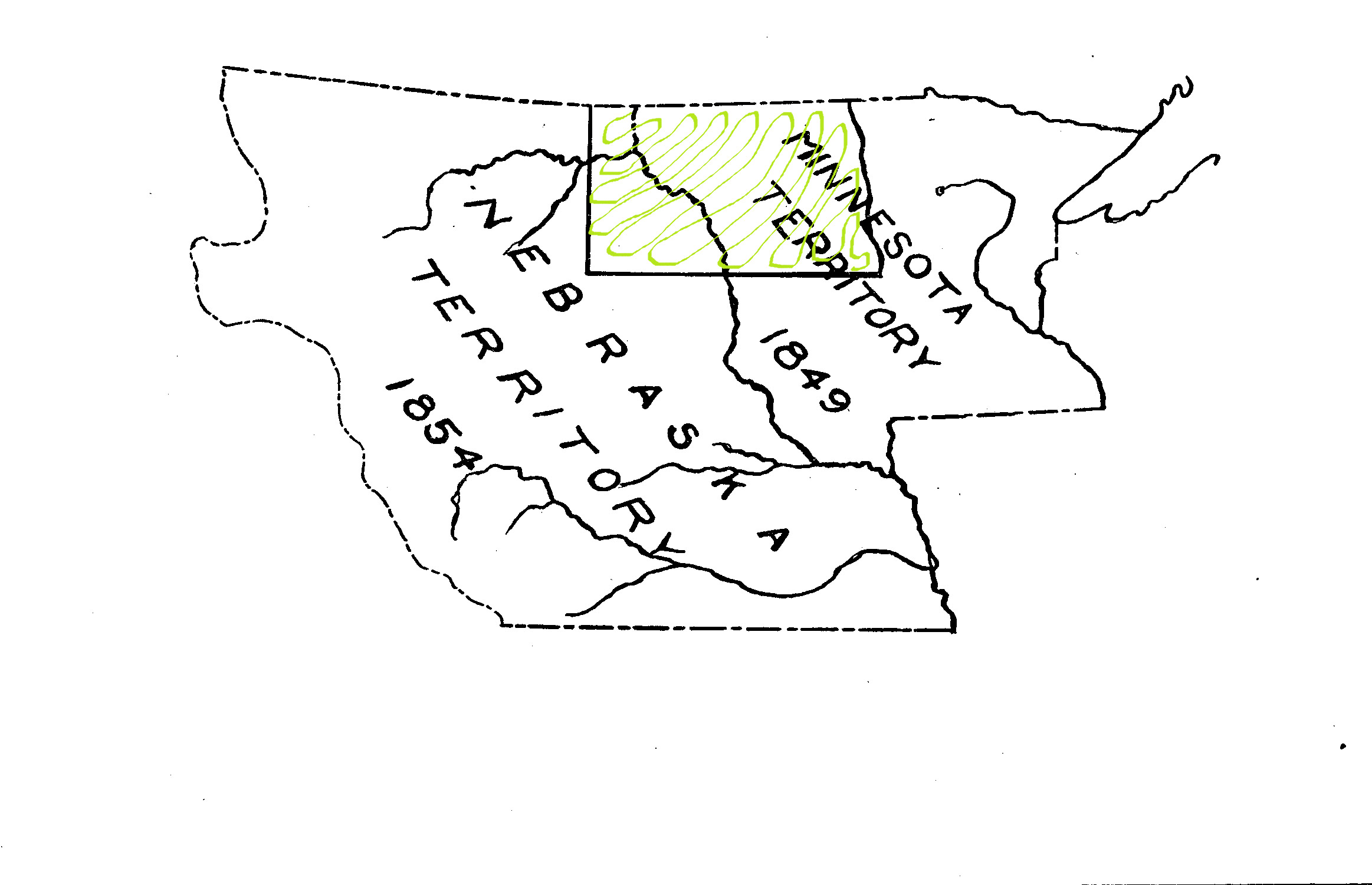 In 1854, the western portion of North Dakota (west of the Missouri River) was given to Nebraska Territory.