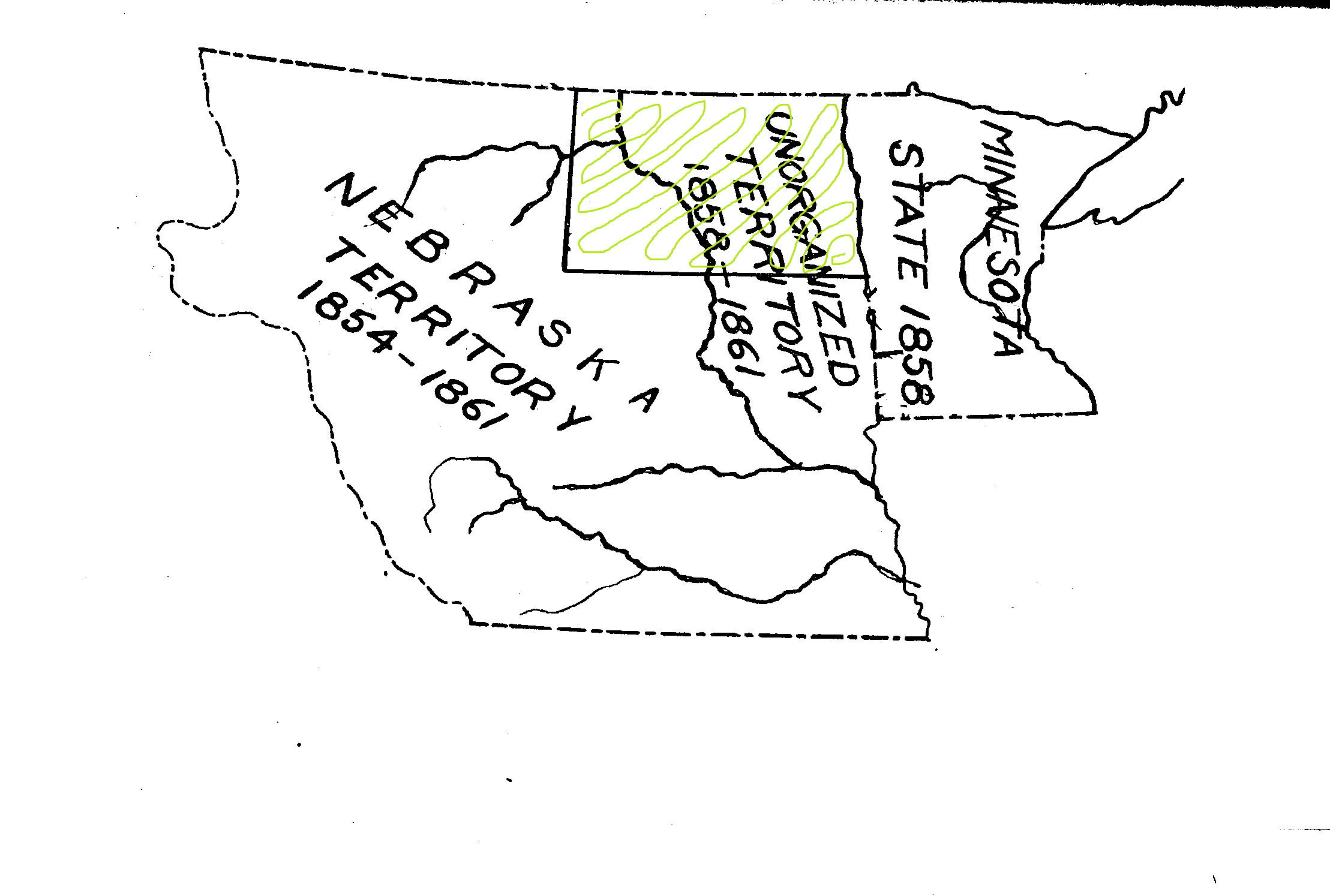 Nebraska Territory continued to claim the West River country until 1861. Minnesota became a state in 1858 without the area west of the Red River. The land between the Red River and the Missouri River was unorganized. It had no government and no representation in Congress.