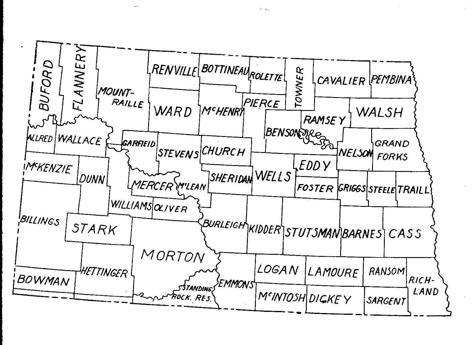 This is the state of North Dakota in 1889. The counties are somewhat different from what we see on today's map.