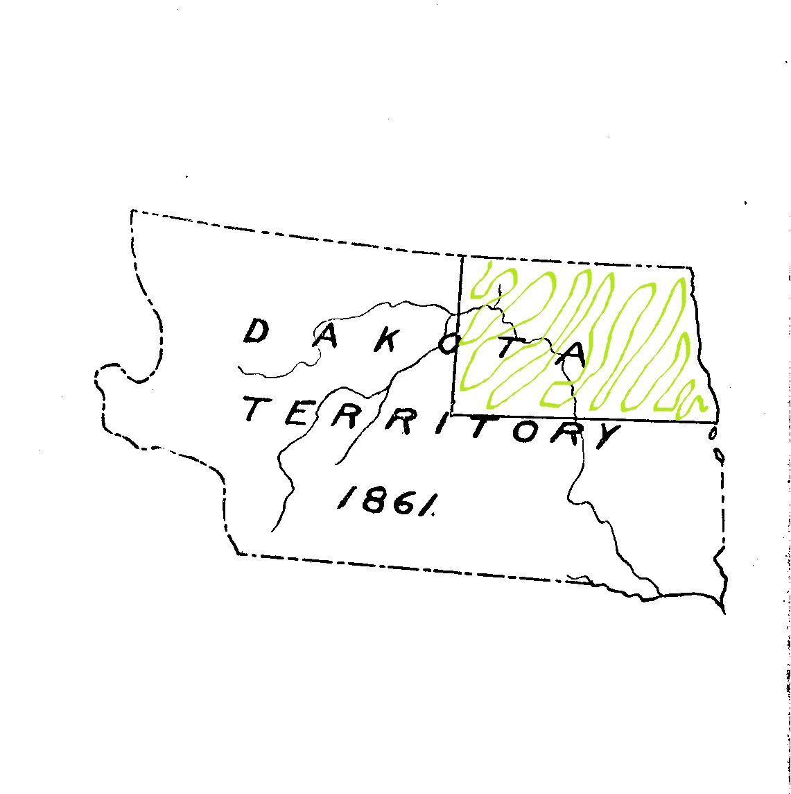In 1861, Congress responded to the requests of the residents of Yankton and created Dakota Territory. Once again, the shape changed. Nebraska was no longer the governing body of western Dakota. Now, the tiny villages of Yankton, Sioux Falls, and Pembina were responsible for governing a huge territory that spread across modern day Montana and Wyoming.