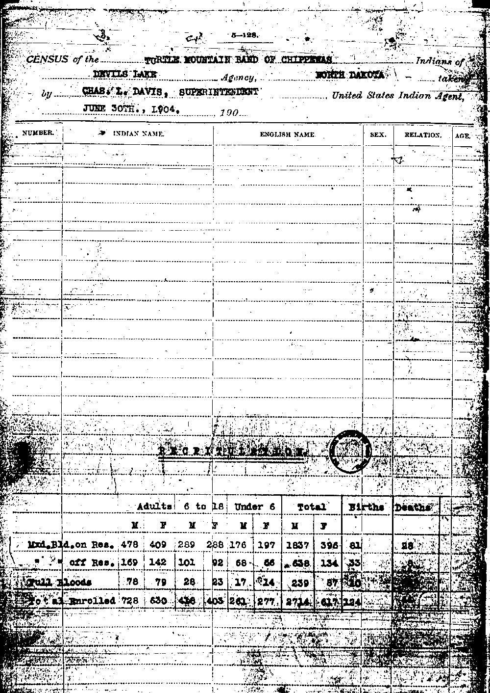 Indian Census, 1904.