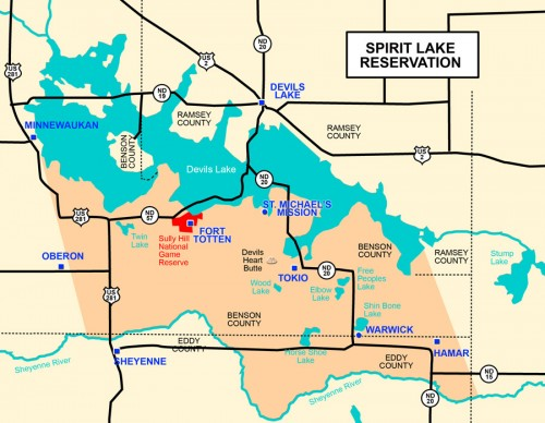 The Devils Lake (Spirit Lake) Indian Reservation.