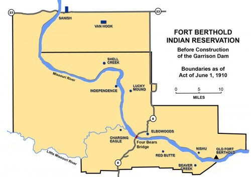Map of Fort Berthold Indian Reservation (before construction of the Garrison Dam)