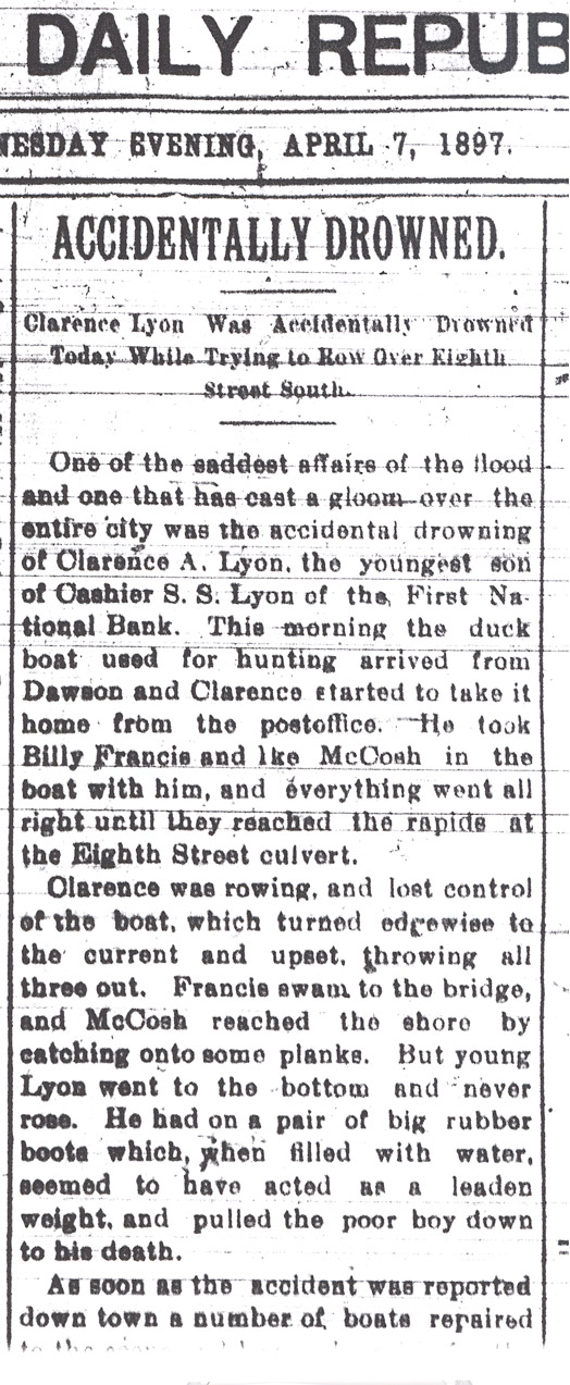 The editorial tone turned somber on the seventh day of the flood when a young man drowned in city flood waters.  Fargo Forum April 7, 1897.
