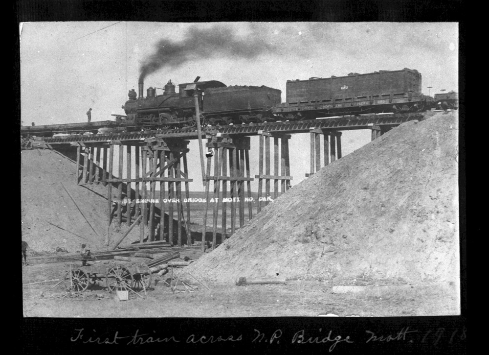 First train over Northern Pacific Bridge Mott ND