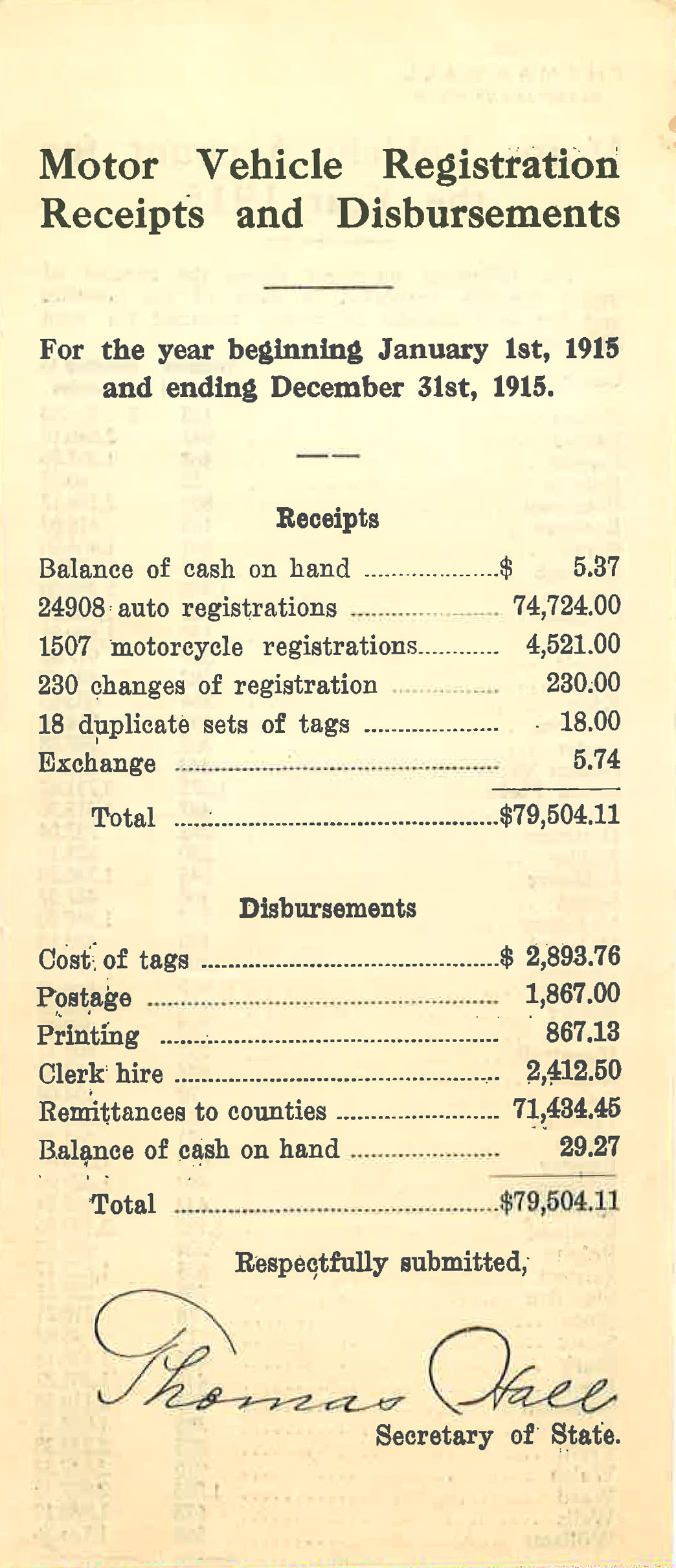 When the state began to license automobiles in 1911, the money paid to the state was divided with the counties. Counties used the money to build and maintain roads and bridges.