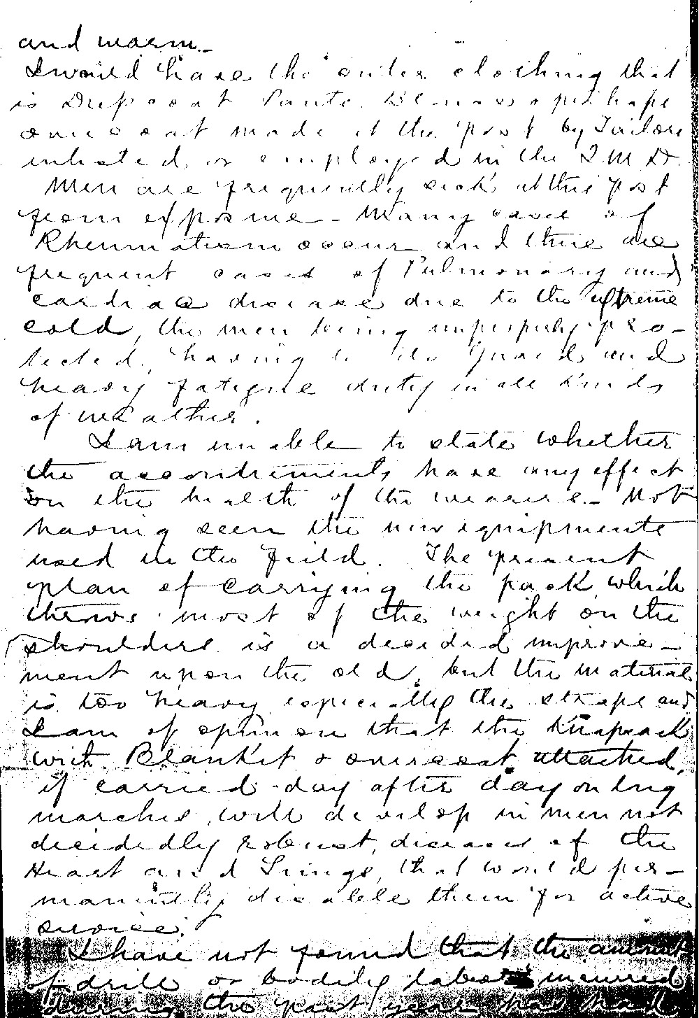 Officers took seriously their duty to oversee the well-being of the soldiers. The condition of enlisted men's clothing at Fort Buford was not acceptable to the post surgeon who wrote up this report. Though complaining about conditions was common among all soldiers, one of the few places where an official complaint was acceptable was in a report concerning the welfare of the soldiers.