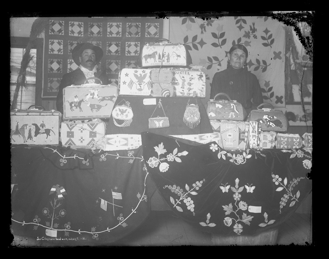 Mr & Mrs Joe Claymore and their beadwork Fort Yates ND 1915