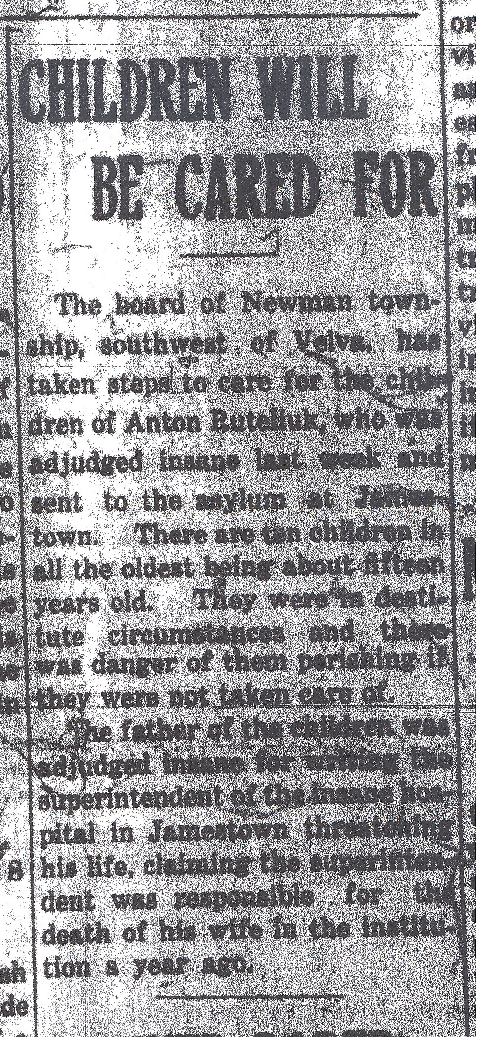 News clipping - Children will be cared for