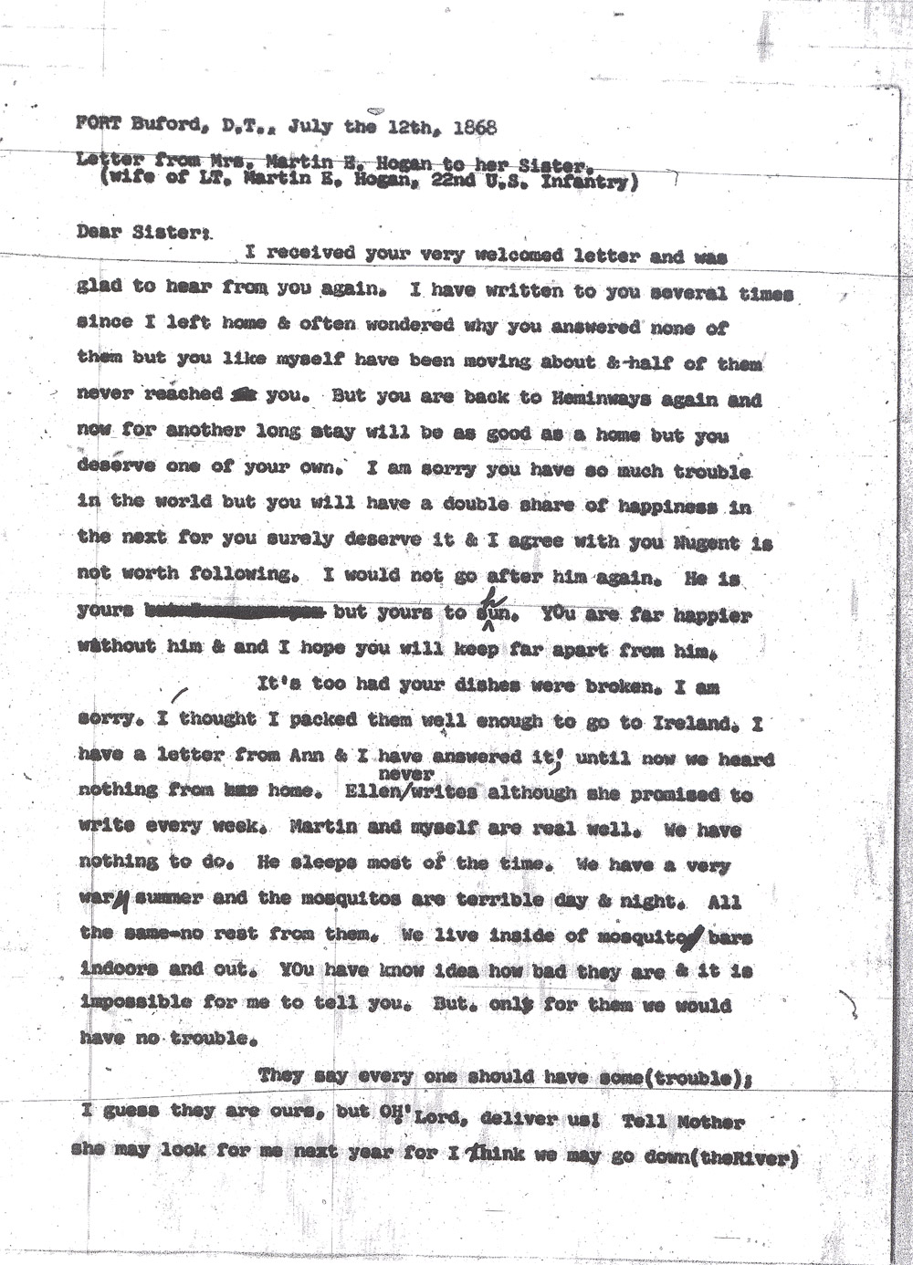 Kate Hogan Letter 1, Transcription, Page 1