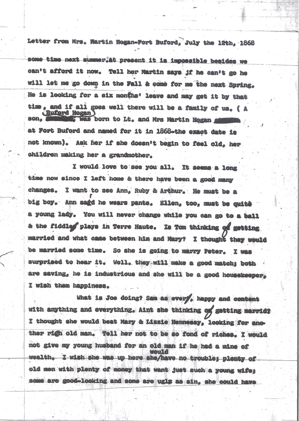 Kate Hogan Letter 1, Transcription, Page 2