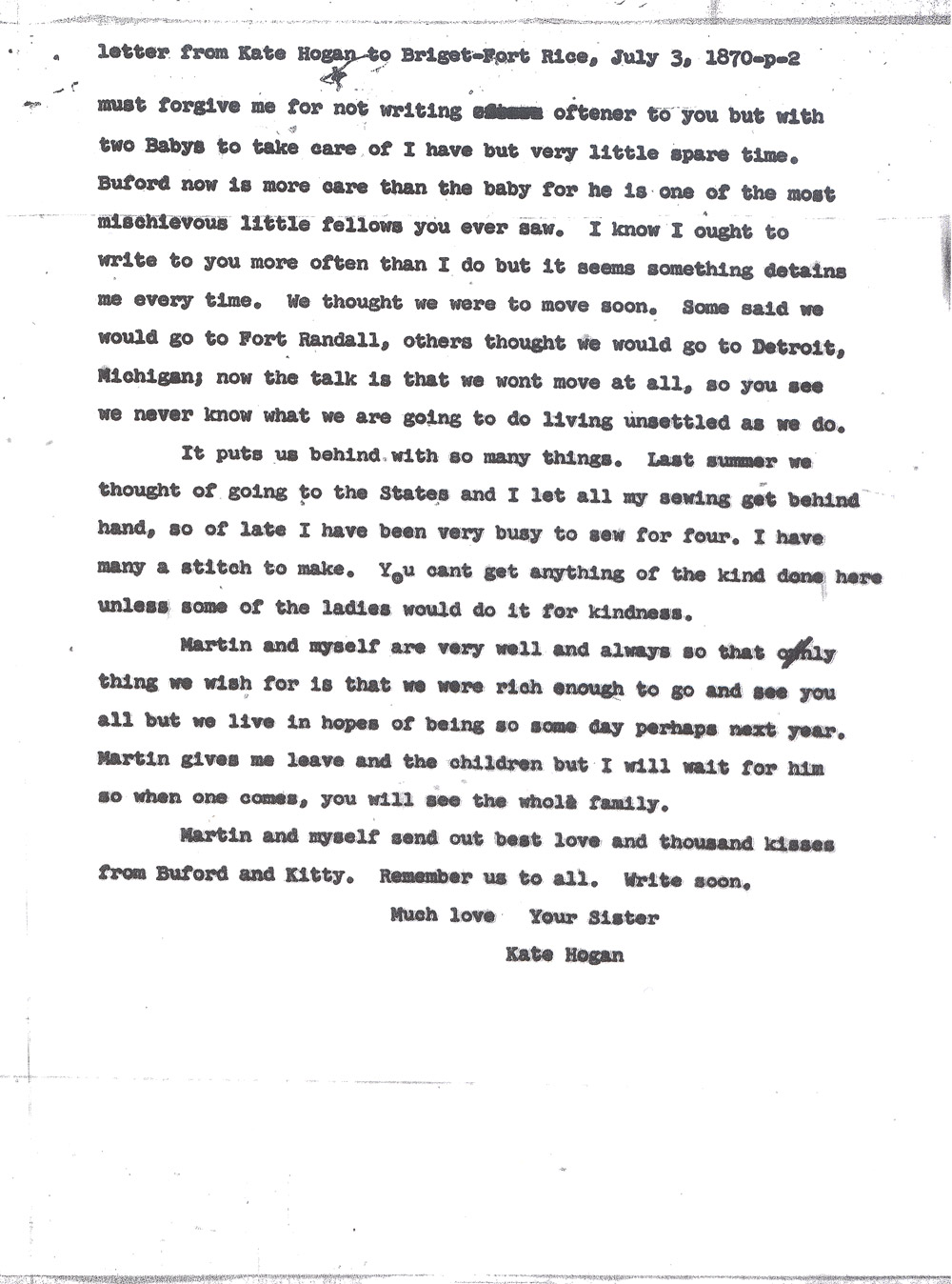 Kate Hogan Letter 2, Transcription, Page 2