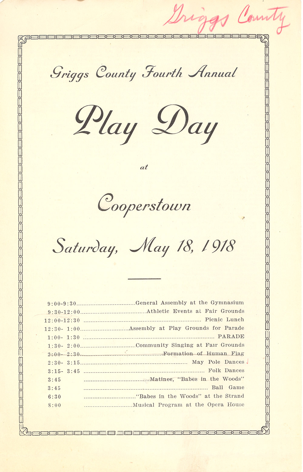 Play Days were popular end-of-the-school year events. Parents often attended Play Day events which were all about having fun. The State Superintendent of Public Instruction did not offer any booklets for Play Day. The events were organized by each school district.