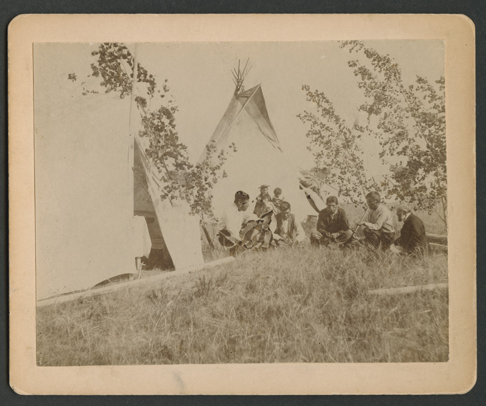 Dr Charles L Hall and Indians - Fort Berthold Reservation