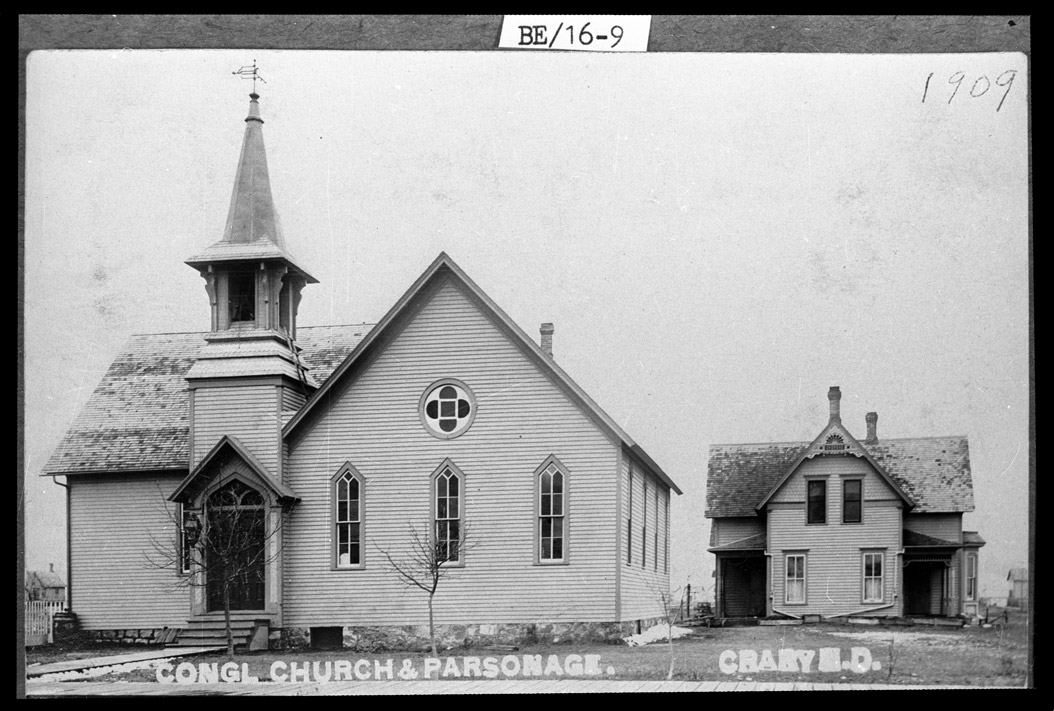 0032-BE-16-09  Congregational Church and Parsonage, Crary, 1909
