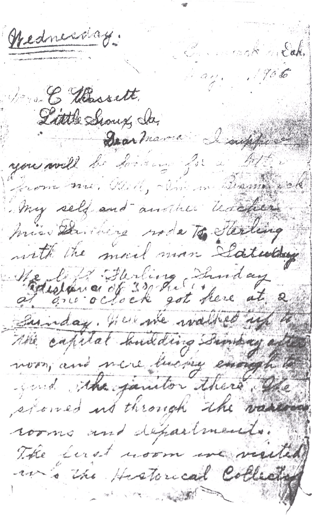 Effie Clinkenbeard Letter, original and transcript (Page 1)