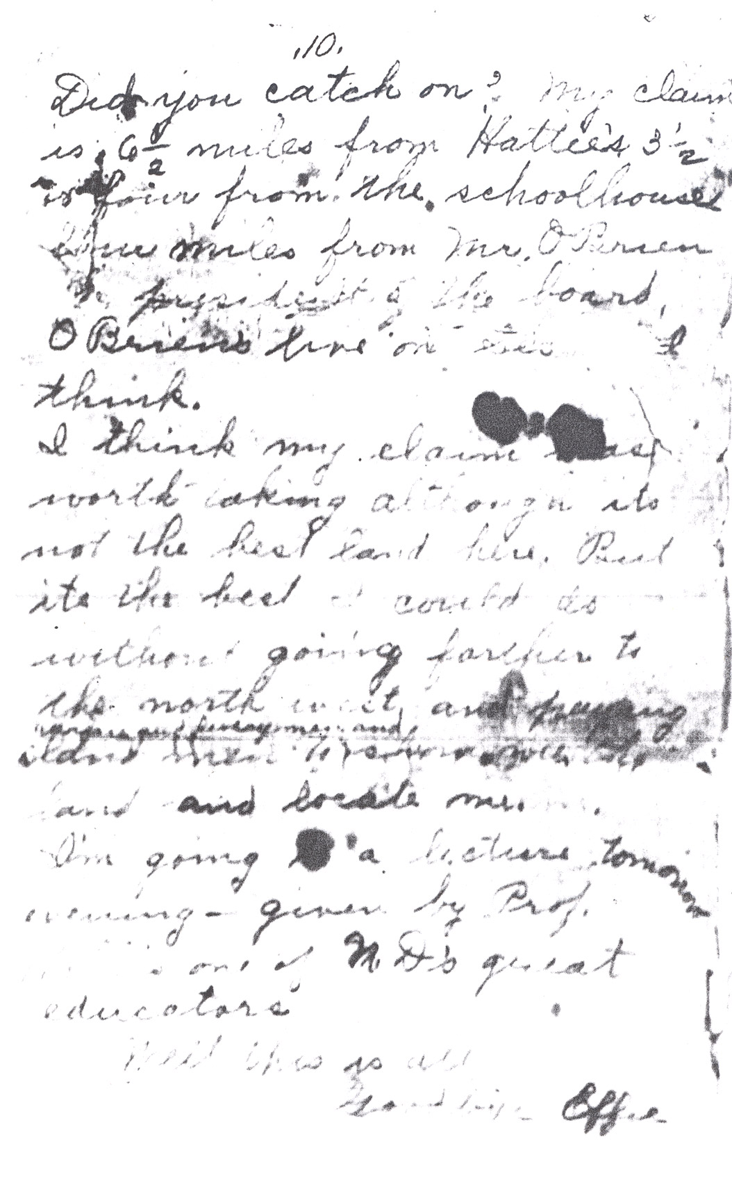 Effie Clinkenbeard Letter, original and transcript (Page 10)
