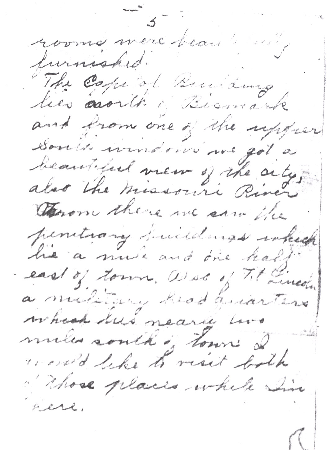 Effie Clinkenbeard Letter, original and transcript (Page 5)