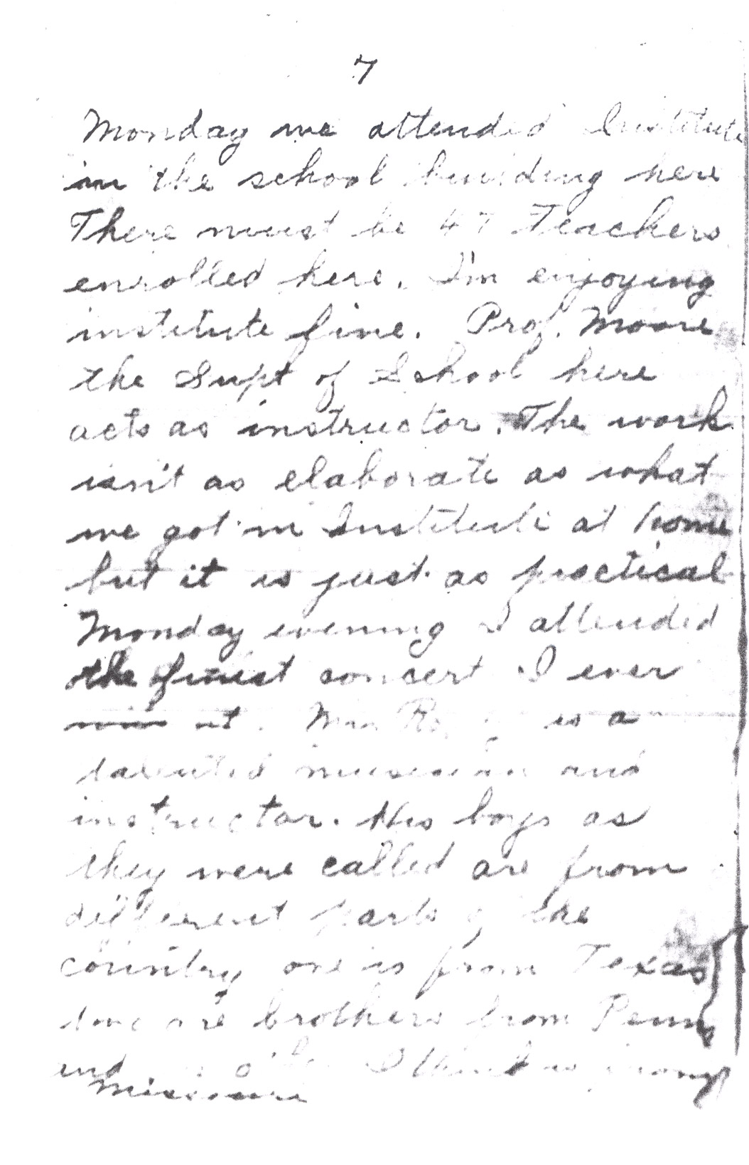 Effie Clinkenbeard Letter, original and transcript (Page 7)