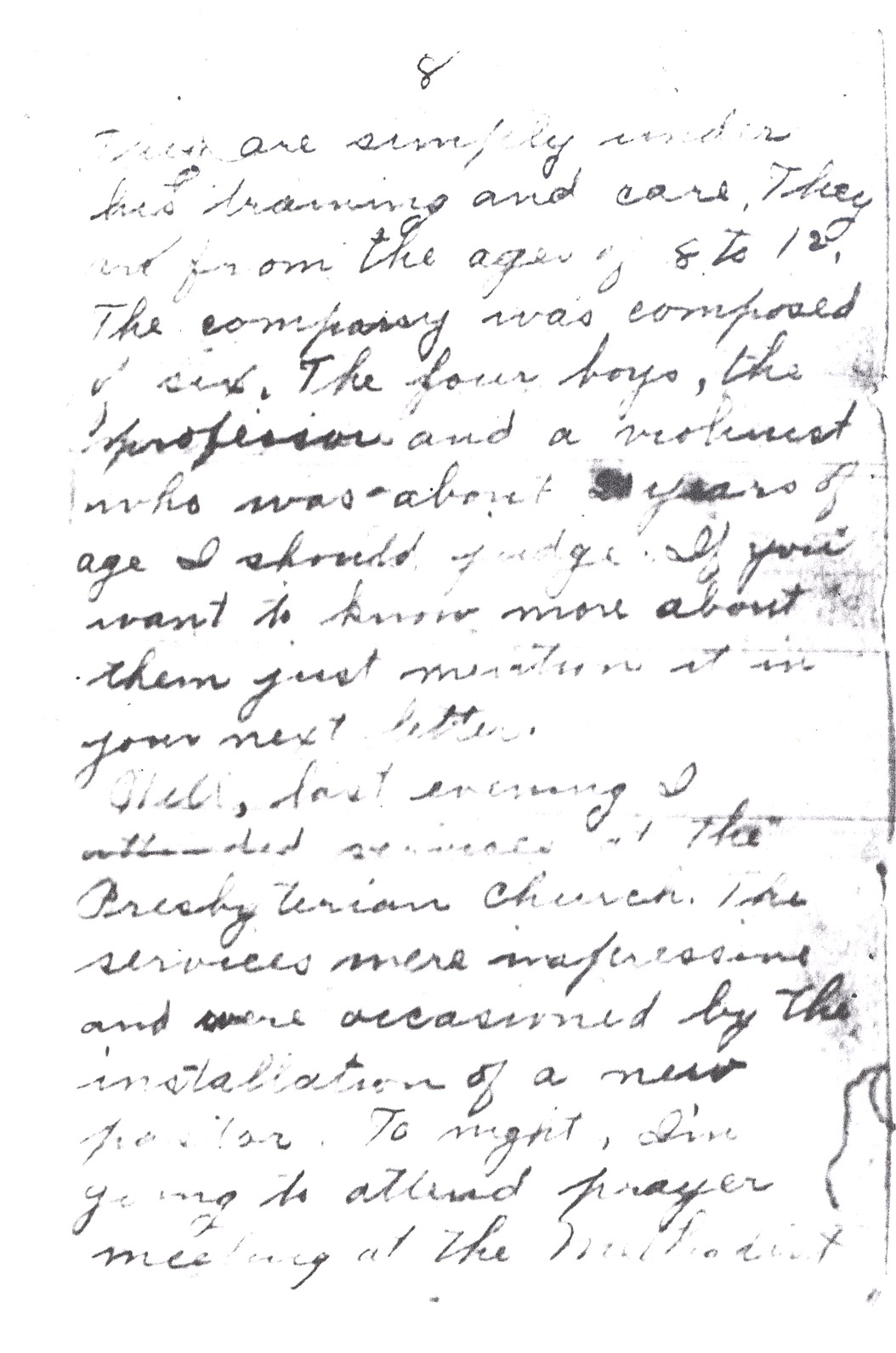 Effie Clinkenbeard Letter, original and transcript (Page 8)