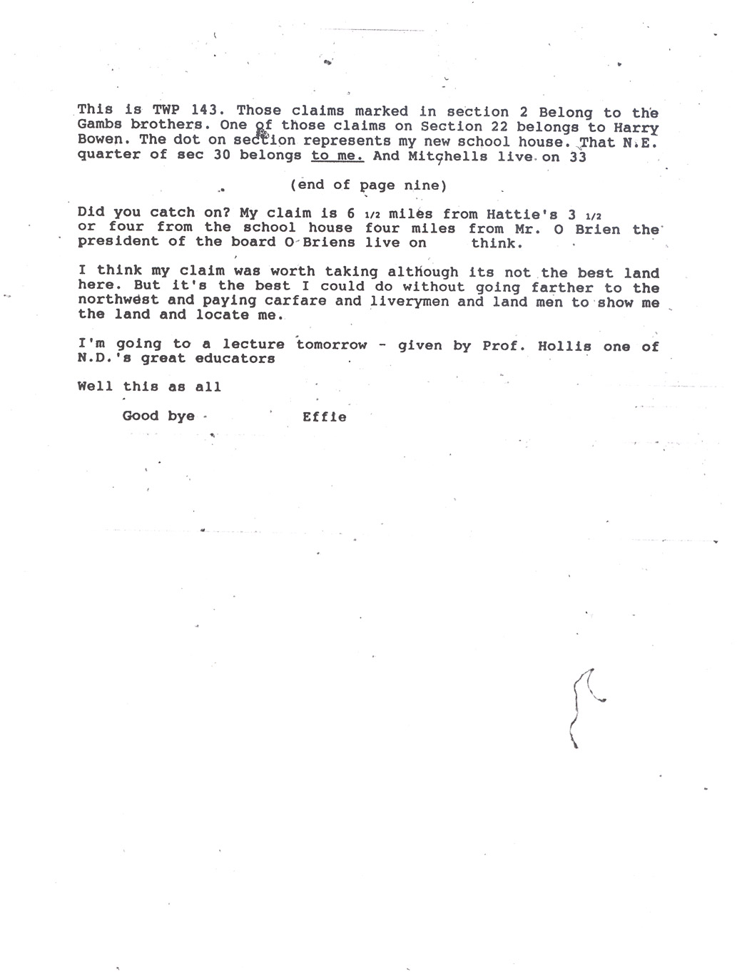 Effie Clinkenbeard Letter, original and transcript (Transcription Page 4)