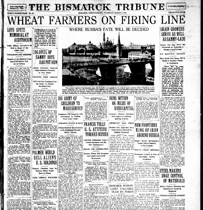 Document 6: The <em>Bismarck Tribune headlines</em> revealed why so many North Dakota men avoided military service. The war effort depended on a steady supply of food, especially wheat. Wheat farmers were not literally 'on the firing line,' but they were contributing to the war effort in their fields. 'Sammy lads' was a nick-name for soldiers.