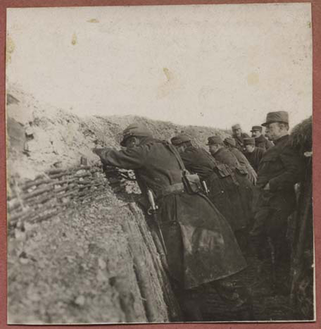 <span class='figure-reader-id'>Image 16:</span> 11086-30-02. The first three years of combat in the Great War were conducted in trenches such as this one. These soldiers appear to be French.  The trenches were filthy and wet. Many men became sick and died after living and fighting for months in these trenches. <span class='figure-archive-id'>SHSND 11086-30-02.</span>