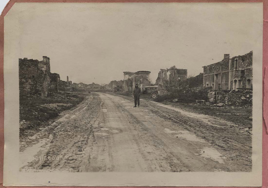 <span class='figure-reader-id'>Image 13:</span> 11086-37-01. German shelling and aerial bombing destroyed many French towns. This is Richecourt after a battle. American soldiers were stunned by the destruction they saw all over France. <span class='figure-archive-id'>SHSND 11086-37-01.</span>