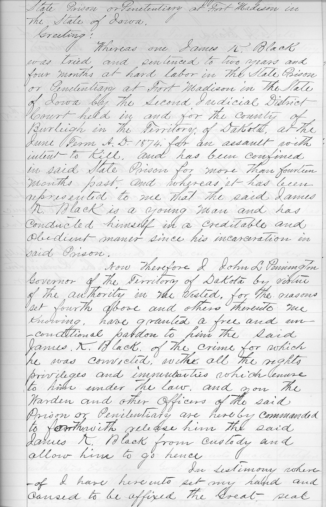 Pennington's Pardon of James Black (Page 1)