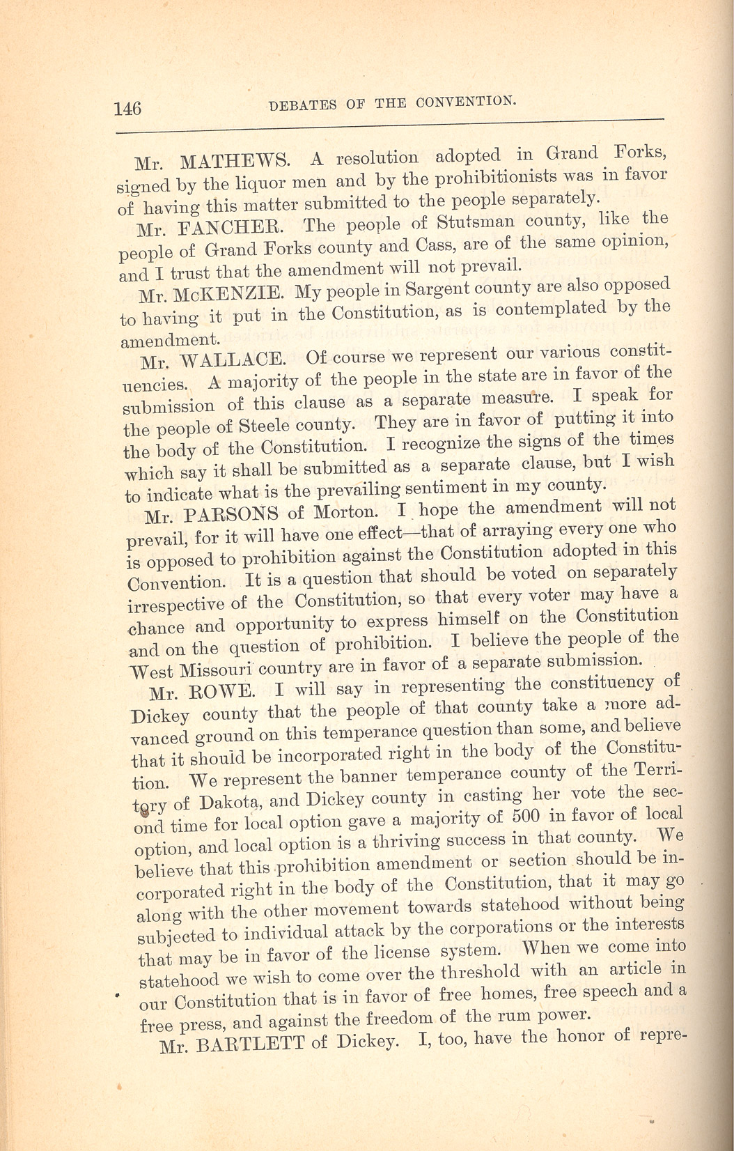 section 2 the constitutional convention and the debates north the delegates to the constitutional convention debated two issues concerning prohibition or temperance as it